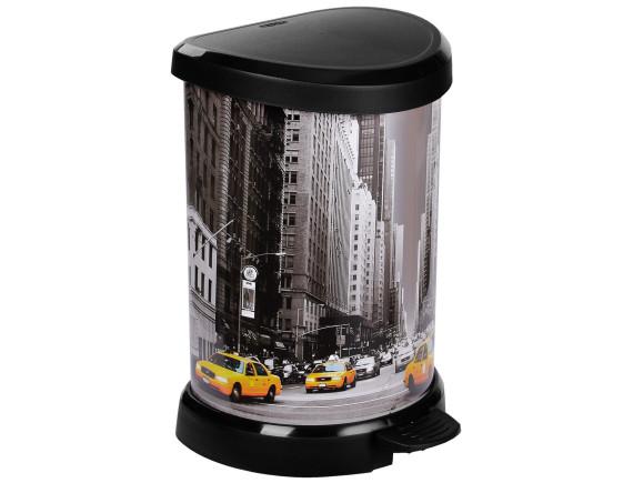 Контейнер для мусора «Нью-Йорк» Deco Bin 20 л, черный/серебро