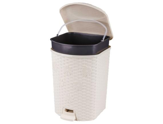 Контейнер для мусора Плетенка 12 л с педалью