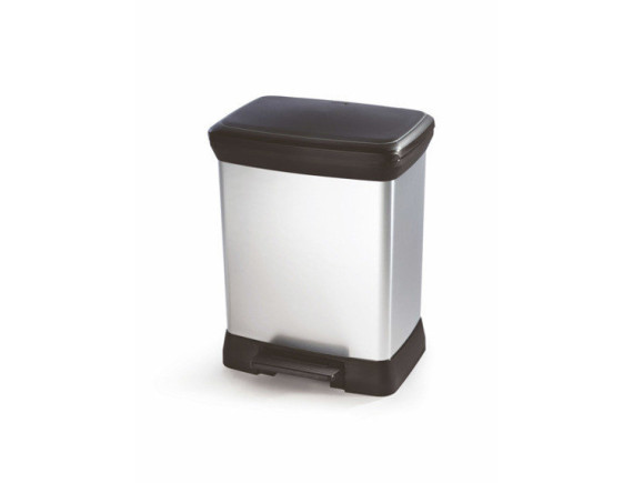 Контейнер для мусора Deco Bin 30 л, черный/серебро