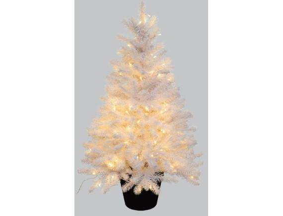 Ель искусственная в горшочке, белая с подсветкой (90 см)