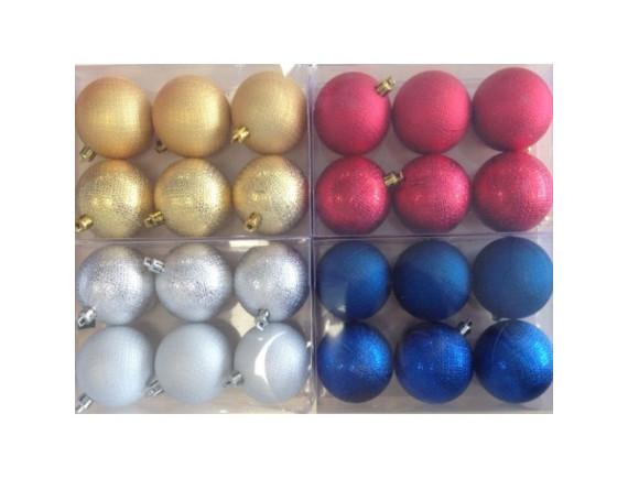 Набор шаров с декором диаметр 6 см (6 штук)