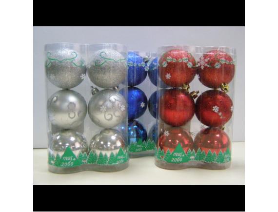 Набор шаров для елки (диаметр 6 см, 6 штук)