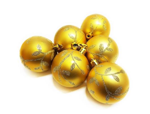Набор шаров с декором (диаметр 6 см, 6 штук)