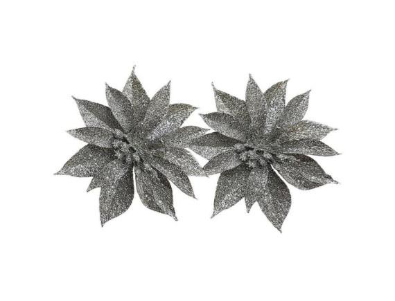 Новогоднее украшение Цветок малый 9 см (2 штуки)