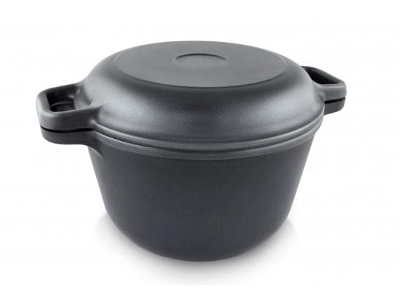 Кастрюля чугунная с крышкой-сковородой Биол (0203)