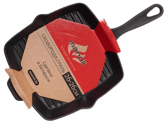 Чугунная сковорода-гриль без крышки 26х26 см, MANOLI