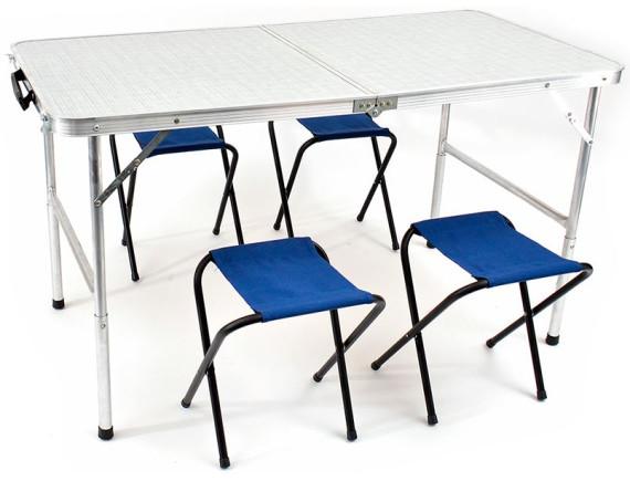 Стол раскладной и влагозащищенный 60Х120 СМ и 4 табурета КЕДР