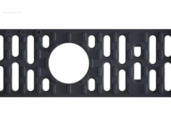 Решетка для каналов ACO Multiline V100 в виде поперечных мостиков (чугун, с глазком, D 400)