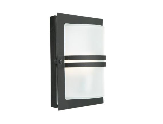 Уличный настенный светильник Norlys Basel Black (матовое стекло)