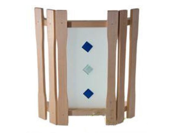 Абажур для бани угловой с одним стеклом и вставками (АУ1-1СВ)