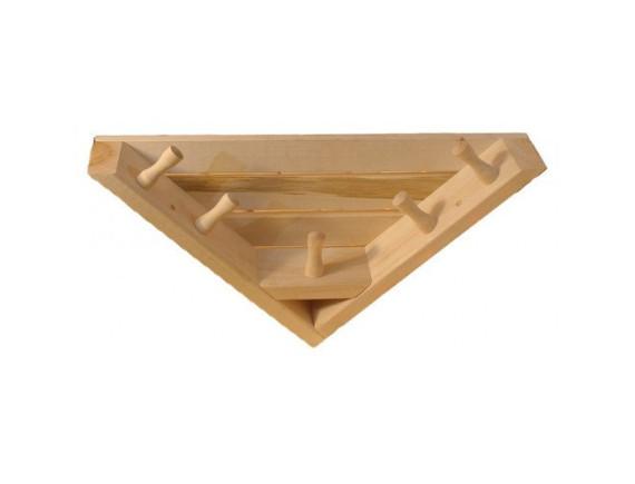 Полка-вешалка для бани большая угловая (5 креплений)