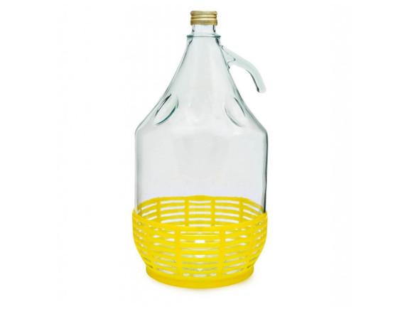Бутыль для вина 5 л в пластмассовой корзинке