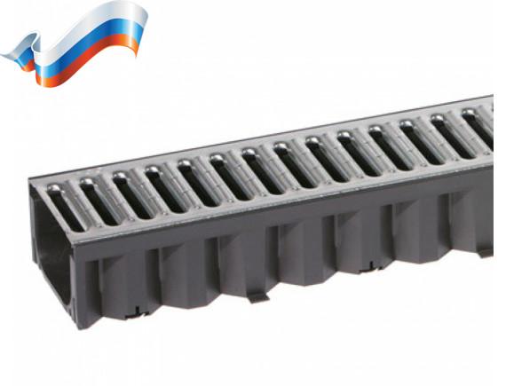 Пластиковые водоотводные лотки ACO Self Hexaline (со стальной оцинкованной решеткой)