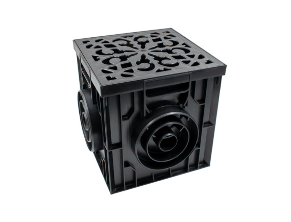 Дождеприемник Ecoteck пластиковый 300х300 в сборе с пластиковой декоративной решеткой (черная)