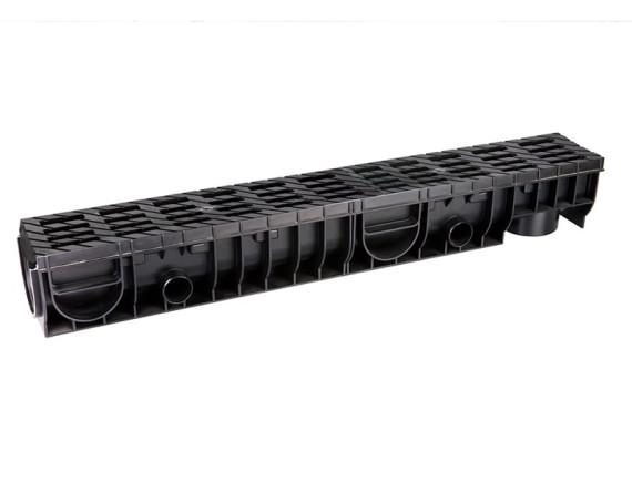 Лоток Ecoteck MEDIUM 100.125 h145 с решеткой пластиковой (чёрный), кл.В125