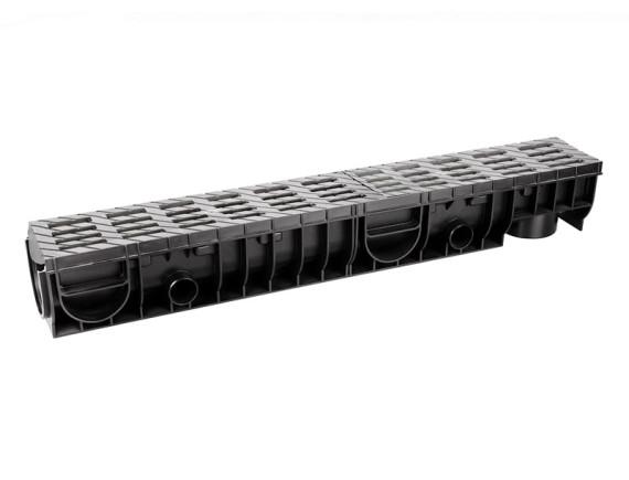 Лоток Ecoteck MEDIUM 100.125 h145 с решеткой пластиковой (металлик), кл.В125