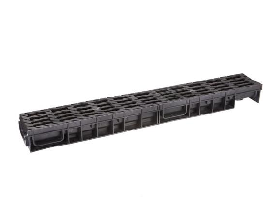 Лоток Ecoteck MEDIUM 100.175 h195 с решеткой пластиковой (чёрный), кл. В125