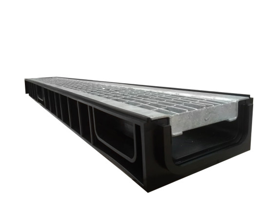 Лоток Ecoteck STANDART 100.65 h69 с решеткой сварной оцинкованной, кл.В125