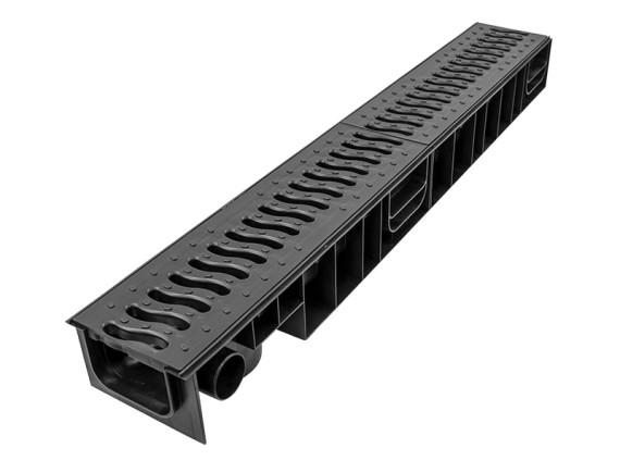 Лоток Ecoteck STANDART 100.95 h99 с пластиковой решеткой (черная), кл.А15