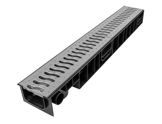 Лоток Ecoteck STANDART 100.95 h99 с пластиковой решеткой (металлик), кл.А15