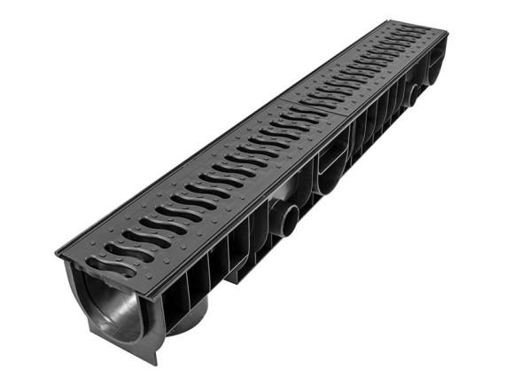 Лоток Ecoteck STANDART 100 h129 с пластиковой решеткой (черный), кл.А15