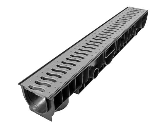 Лоток Ecoteck STANDART 100 h129 с пластиковой решеткой (металлик), кл.А15