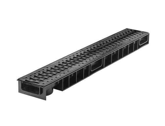 Лоток Ecoteck STANDART light 100.65 h69 с решеткой пластиковой (черная), кл.А15
