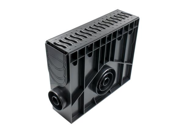 Пескоуловитель 100 h419 пластиковый в сборе с решеткой 100 пластиковая Волна (черный)