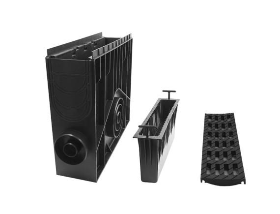 Пескоуловитель 100 h435 пластиковый в сборе с решеткой 100 MEDIUM В-125, чёрный