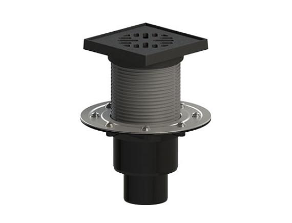 Трап регулируемый с гидрозатвором с прижимным фланцем с вертикальным выпуском 110/75/50 мм (сталь) ТП-310.1PHs