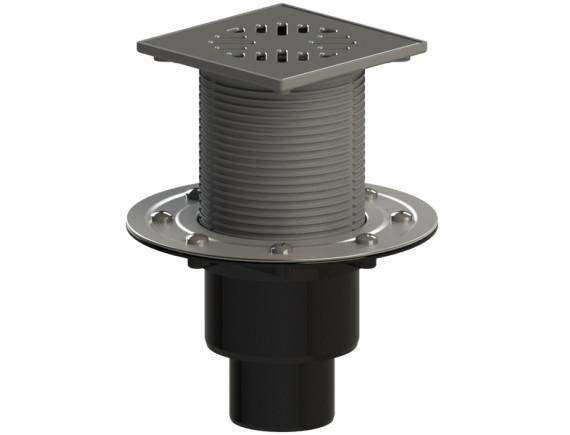 Трап вертикальный двухэлементный регулируемый с механическим «сухим» затвором, с прижимным фланцем ТП-310.1Ms