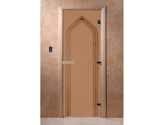 """Дверь для бани """"Арка"""" (бронза матовая)"""