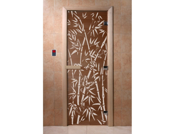 "Дверь для бани ""Бамбук и бабочки"" (бронза)"