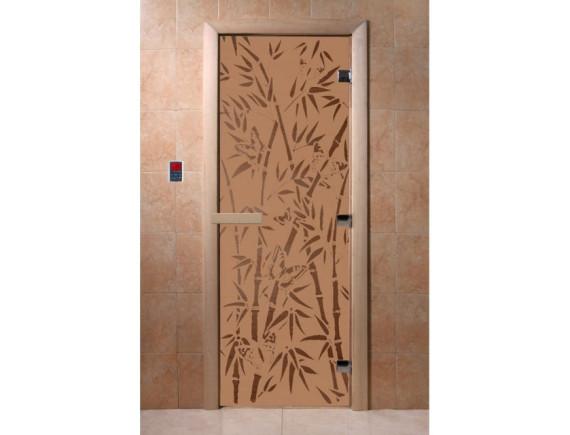 """Дверь для бани """"Бамбук и бабочки"""" (бронза матовая)"""