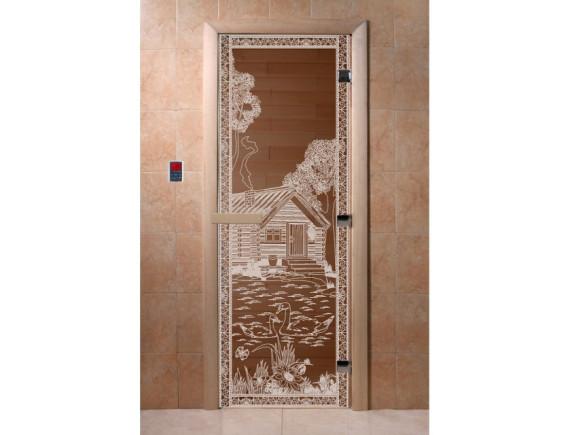"""Дверь для бани """"Банька в лесу"""" (бронза)"""