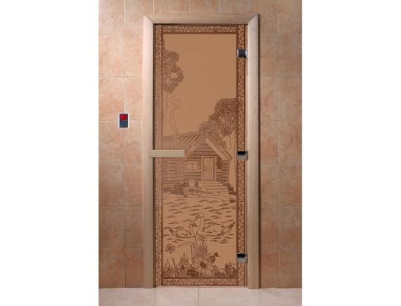 """Дверь для бани """"Банька в лесу"""" (бронза матовая)"""