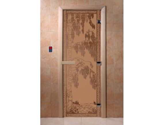 """Дверь для бани """"Березка"""" (бронза матовая)"""