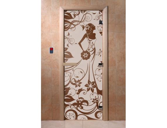 """Дверь для бани """"Девушка в цветах"""" (бронза)"""