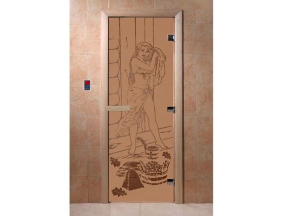 """Дверь для бани """"Дженифер"""" (бронза матовая)"""