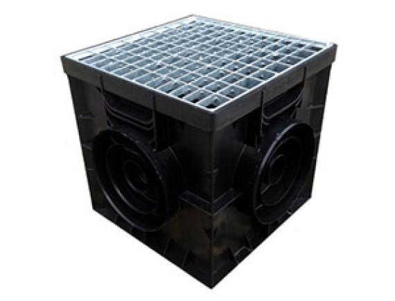 Дождеприемник Gidrolica 300х300 пластиковый со стальной оцинкованной сетчатой решёткой