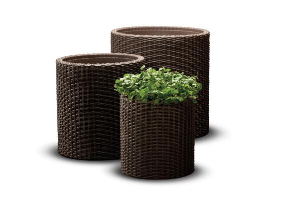 Набор кашпо Cylinder Planter (набор из 3-х шт), коричневый