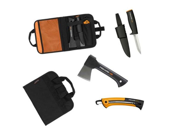 Малый туристический топор X5 Fiskars + пила SW73 + нож K40 в брезентовой сумке (129012)
