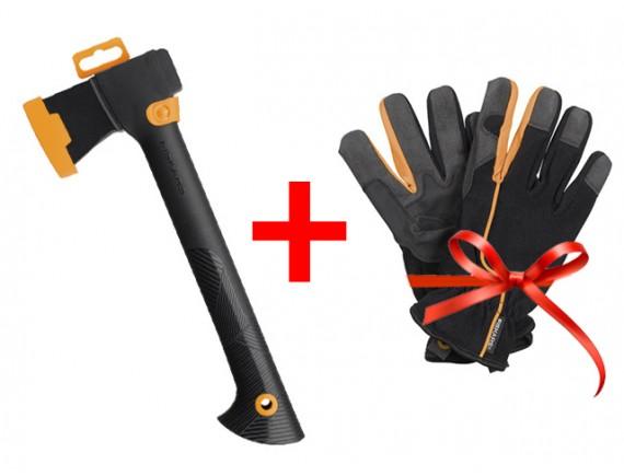 Топор универсальный Fiskars Solid + перчатки садовые FISKARS