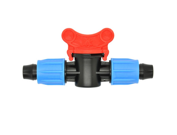 Кран проходной для капельной трубки 16 мм с зажимной гайкой