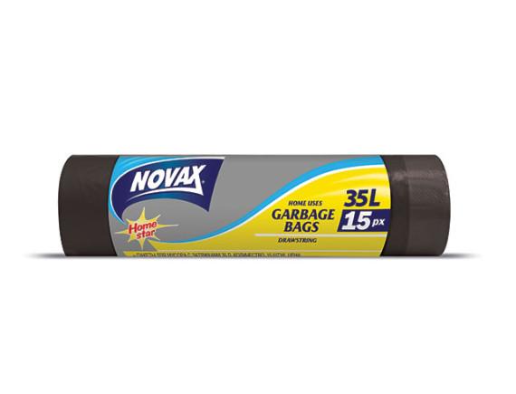 Мешки для мусора 35л/15шт c затяжкой NV NOVAX
