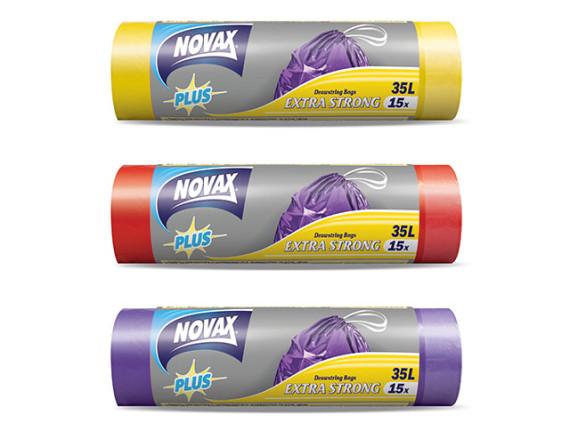Мешки для мусора 35л/15шт c затяжкой NV Plus NOVAX