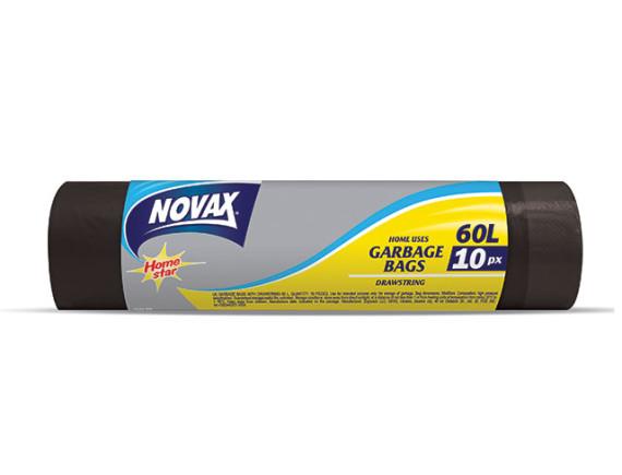 Мешки для мусора 60л/10шт c затяжкой NV NOVAX