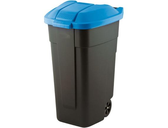 Мусорный контейнер на колёсах, 110 л, с голубой крышкой