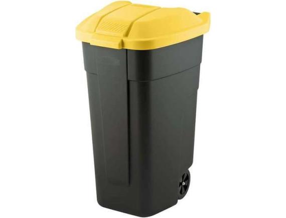 Мусорный контейнер на колёсах, 110 л, с желтой крышкой