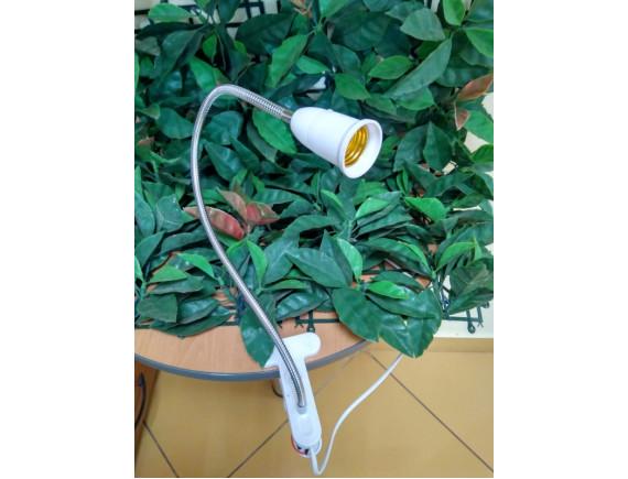 Светильник на прищепке и гибкой ножке 50см (без лампочки, Е27, переключатель, кабель 1,8м)